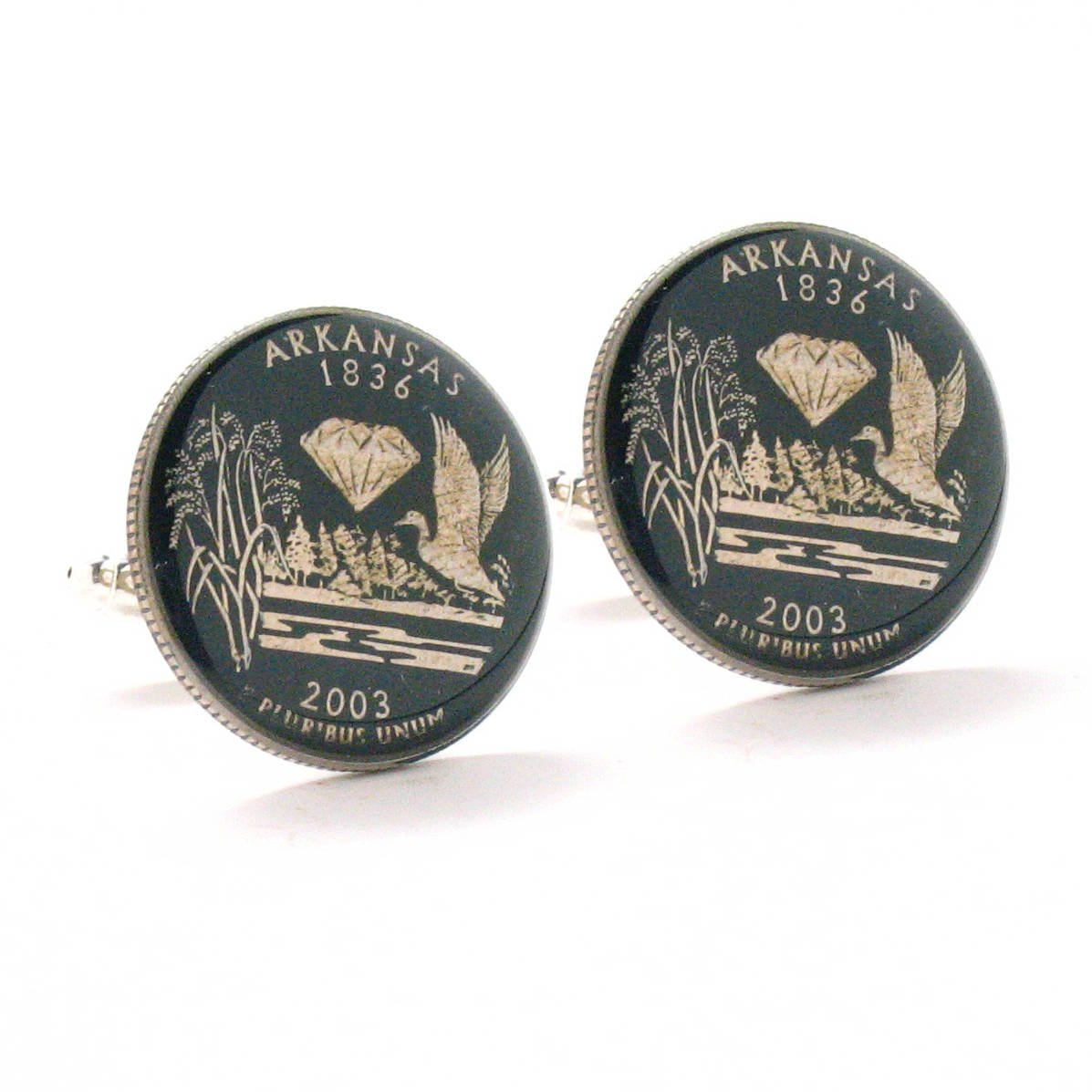 Arkansas Quarter Cufflinks Suit Flag State Coin Jewelry USA US United States Little Rock Police