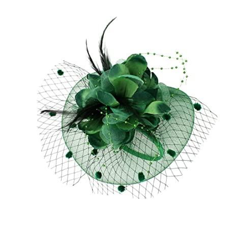 MonkeyJack Lady Flower Fascinator Hat Hair Band Cocktail Wedding Party  Headpiece - Dark green  Amazon.ca  Sports   Outdoors 5db65812467