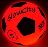 GlowCity Light Up LED Soccer Ball Blazing Red Edition|Glows in The Dark with Hi-Bright LED Lights - Size 5