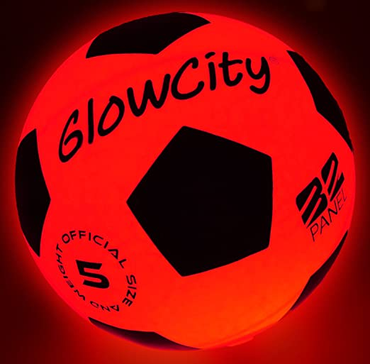 LED Soccer Ball Red Glows in The Dark - Gift For Soccer Fans