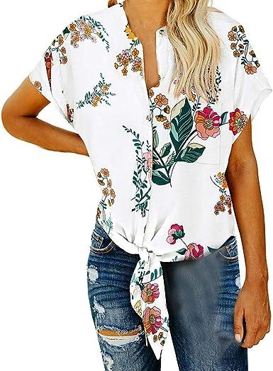 Yvelands, para Mujer, Manga Corta, Corbata, Nudo, impresión, Tops, Camisa de Verano, Blusas: Amazon.es: Ropa y accesorios