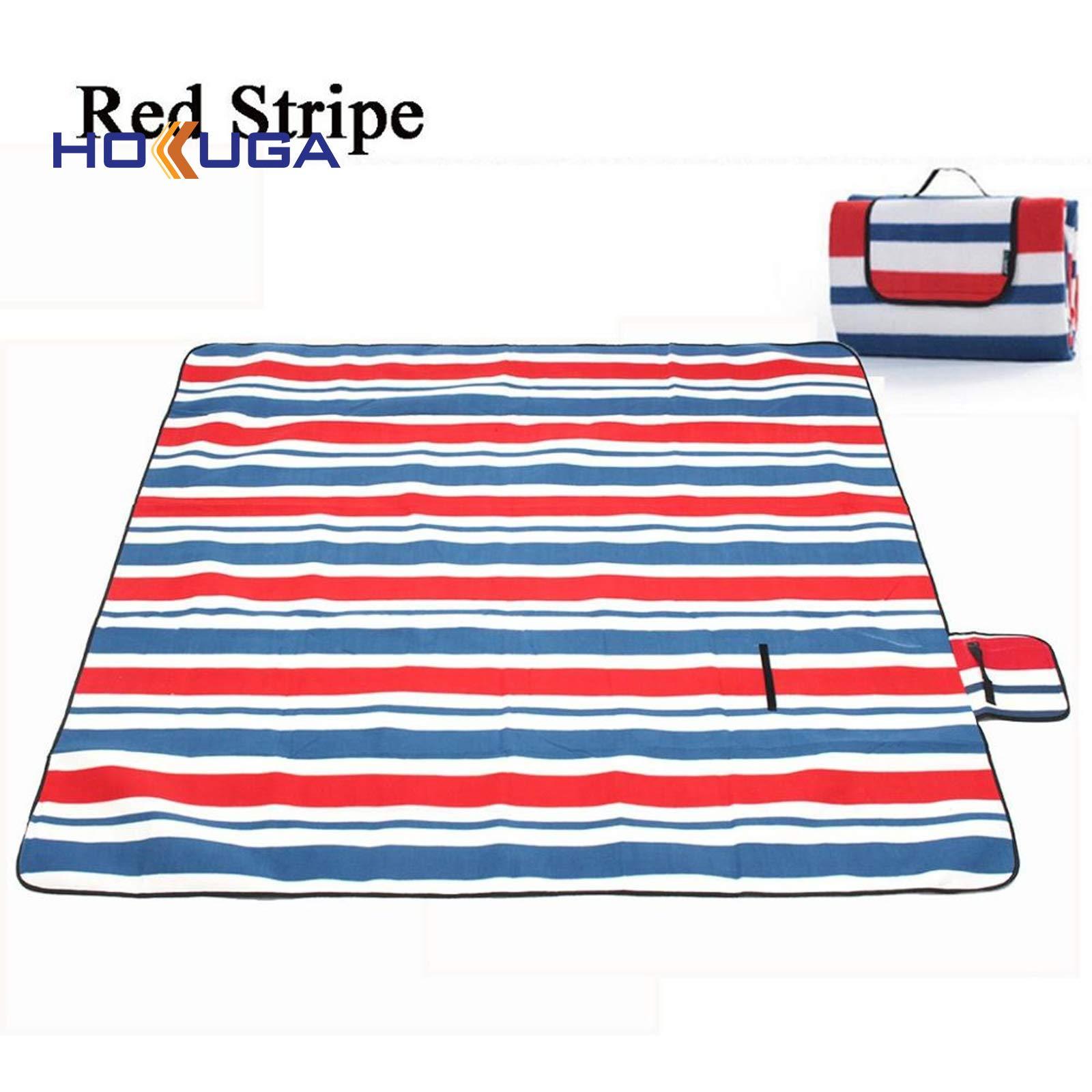 Picnic Blanket Waterproof - 200X200CM Waterproof Folding Picnic Mat Outdoor Camping Beach Moisture-Proof Blanket Portable CampingMat Hiking BeachPad (RED Stripe, Waterproof Picnic Blanket)