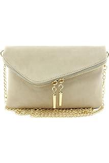 0e53fc4010e Large Envelope Clutch Bag with Chain Strap Beige Brick: Handbags ...