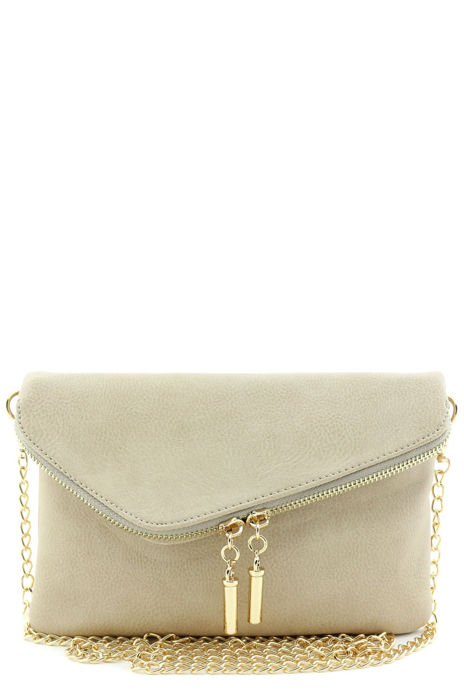 Envelope Wristlet Clutch Crossbody Bag with Chain Strap (Beige Brick) by FashionPuzzle