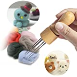 DIY Eight Needles tool Craft Wool Felt Stitch Punch Tool with Solid wood handle Felting more efficient (Felt Stitch Punch Tool with Solid wood handle)