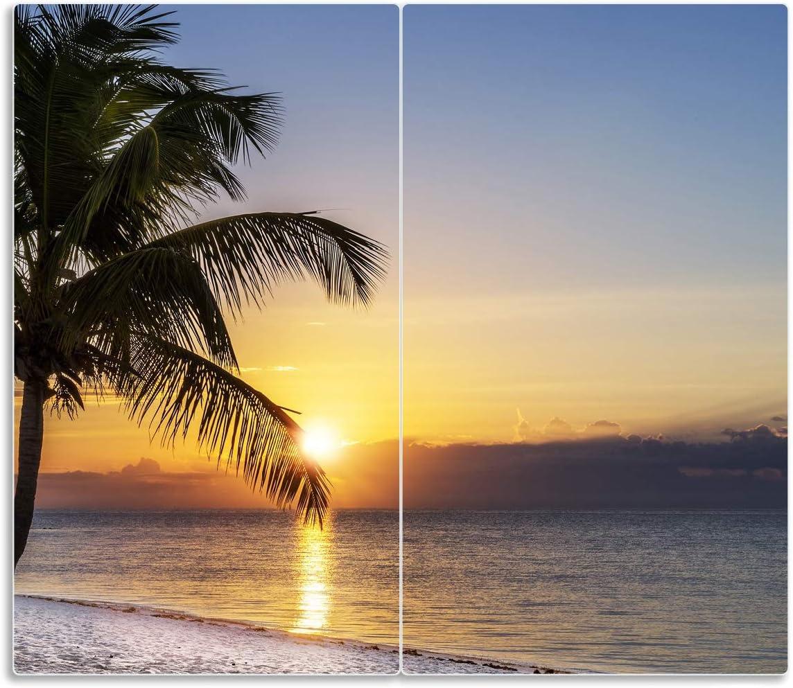 60x52cm Sonnenuntergang /über dem Meer f/ür Ceran- und Induktionsherde Palme am Strand 2-teilig Wallario Herdabdeckplatte//Spritzschutz aus Glas