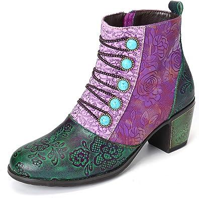SOCOFY Damen Retro Stiefel Bohemian Sandalen Zipper Ankle Leder Boots Winter