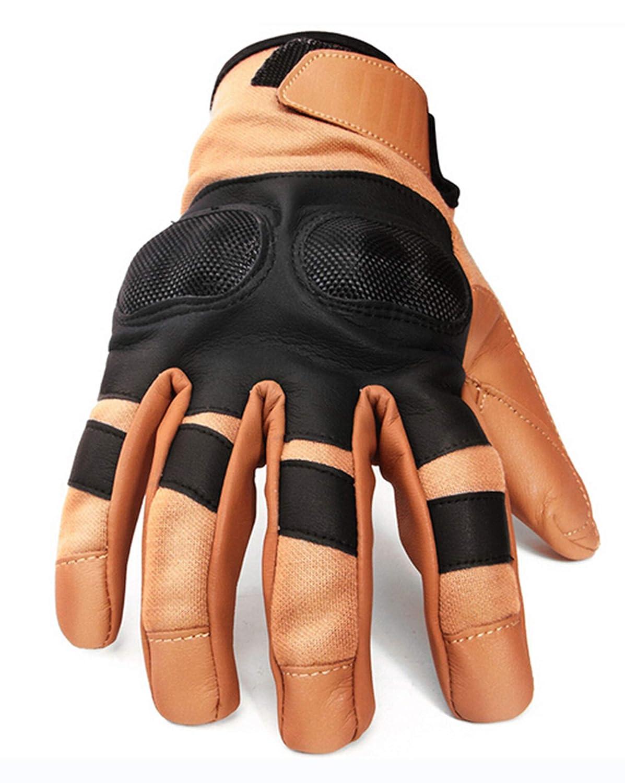 AmDxD Damen PU Lederhandschuhe Knöchel Schutz Reithandschuhe Camping Heer Gelb Handschuhe Größe X-Groß