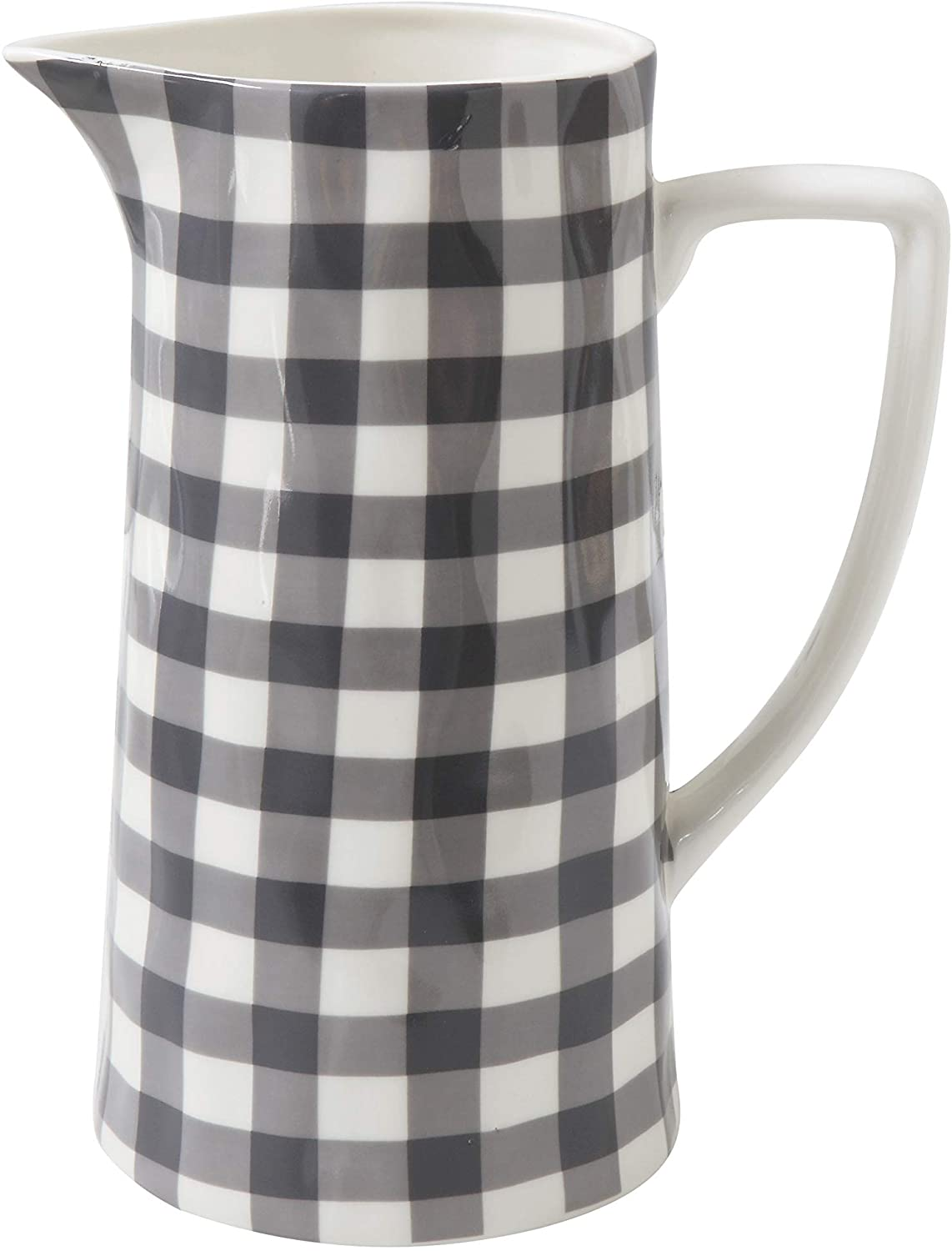 Creative Co-Op Black & White Gingham Stoneware Pitcher