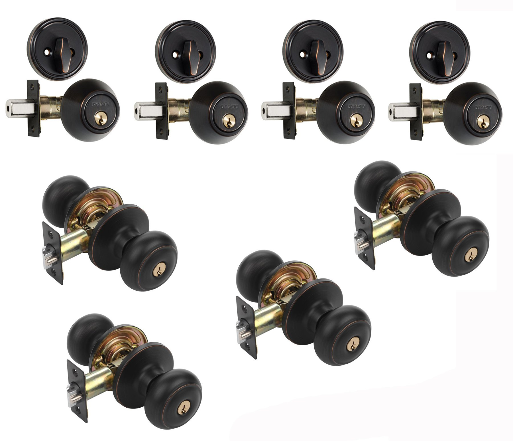 Dynasty Hardware CP-SIE-12P, Sierra Entry Door Knob Lockset and Single Cylinder Deadbolt Combination Set, Aged Oil Rubbed Bronze (4 Pack) Keyed Alike