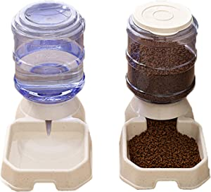 Urban Drift Automatic Pet Food Feeder and Water Dispenser Set, Gravity Replenish with Food Spoon Feeder Automatic for Cats and Dogs