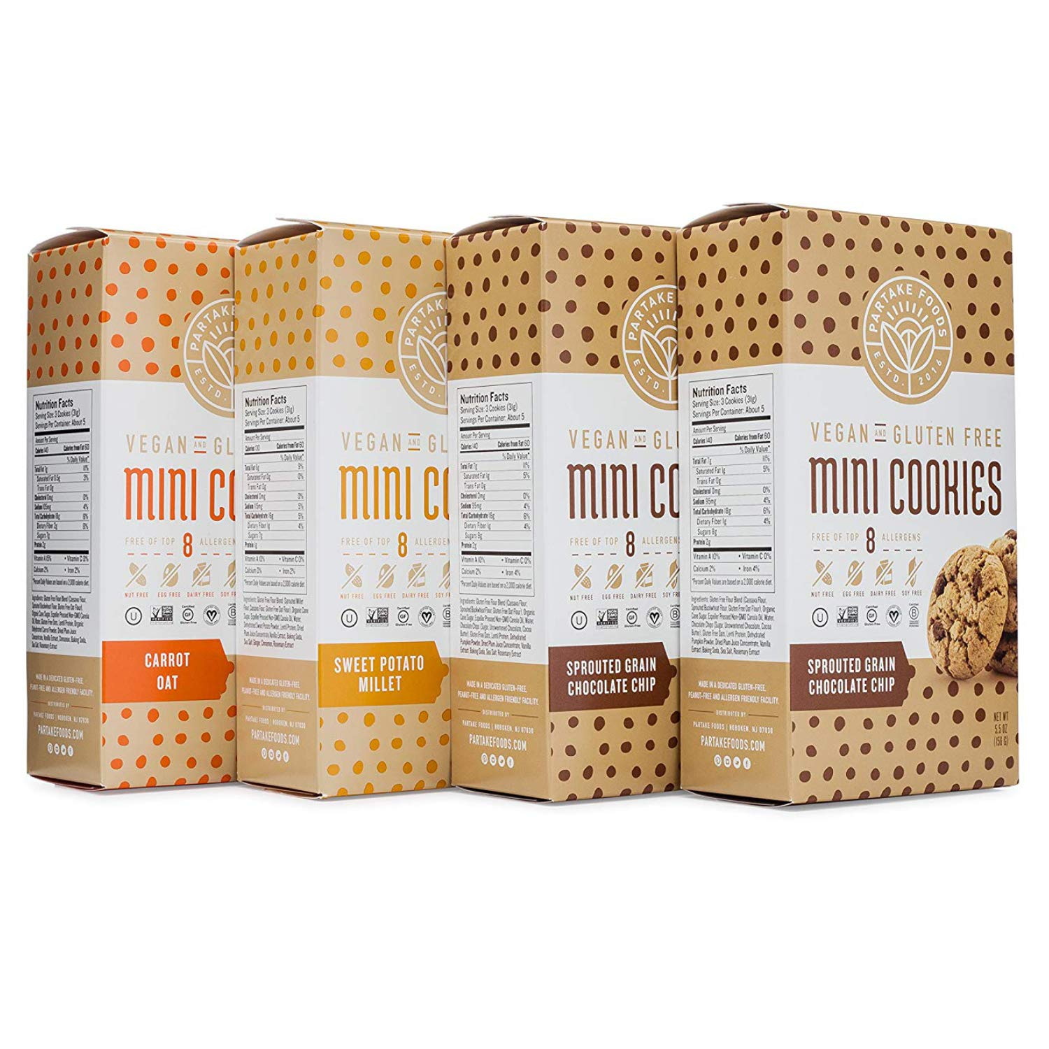 Partake Foods Crunchy Mini Cookies, Combo Snack Pack, Chocolate Chip, Sweet Potato Millet, Carrot Oat, Vegan, Nut Free, Gluten Free, Free of Top 8 Allergens, Safe for the School Yard (4 Boxes) by Partake Foods