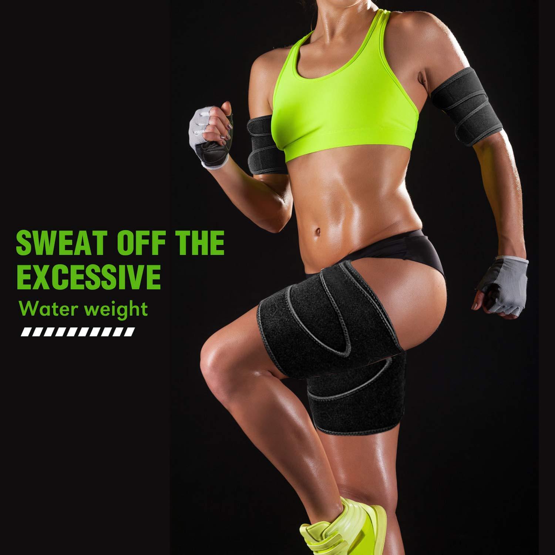 Calories Off Reduce Cellulit TOBWOLF 4 Pack Arm Thigh Trimmer Fat Burn for Weight Loss Adjustable Unisex Neoprene Compress Belt Arm Leg Shaper Sleeves Sauna Sweat Wraps
