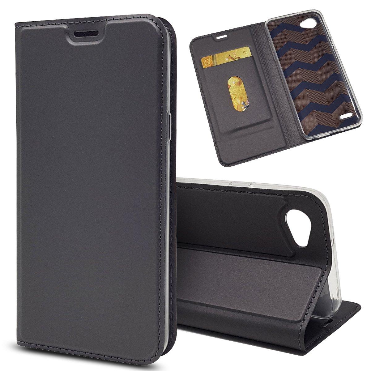 LG Q6ケース、iCoverCaseプレミアムレザーケース(マグネット付き)、新バージョンケース、超スリム耐衝撃軽量[カードスロット] [マグネットクロージャー] PUレザーケース(グレー)   B07JBSCBQF
