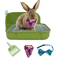 Rabbit Litter Box Toilet,Pet Rabbit Toilet Plastic Rabbit to Clean Rabbit Toilet Buckle Design, not Easy to Loose (Green…