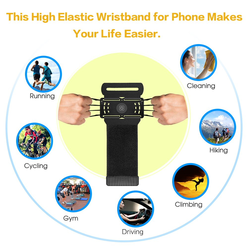 VUP Wristband Phone Holder for iPhone X iPhone 8 8Plus 7 7 Plus 6S 6 5S Samsung Galaxy S8 Plus S7 Edge, Google Pixel, 180° Rotatable, Great for Hiking Biking Walking Running Armband(Black) by VUP (Image #5)