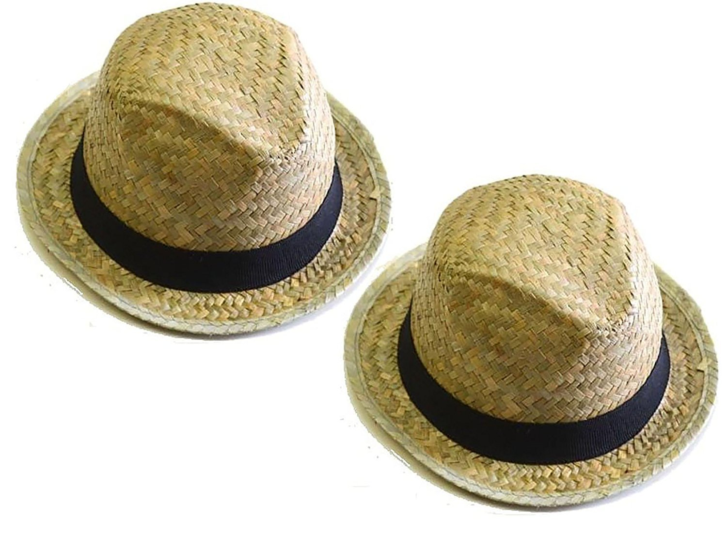 Bottles N Bags 2 Pack Fedora Straw Hats Cuban Style with Black Fabric Band Perfect for Cruises by