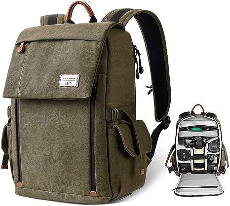 Camera Backpack, Zecti Waterproof Canvas Professional Camera Bag DSLR Camera Travel Bag with Rain Cover for Canon Nikon DSLR Camera, Lens and