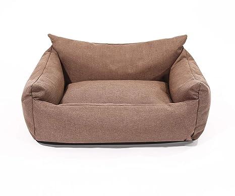 HenLooo Cama para Perros, Tela Oxford de Lujo marrón, Adecuada para pequeñas, Medianas