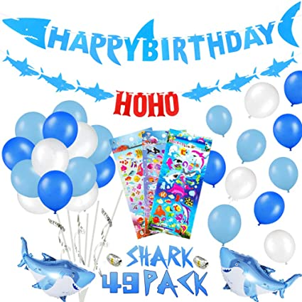 39 PACK Shark Birthday Party Decorations For Kids