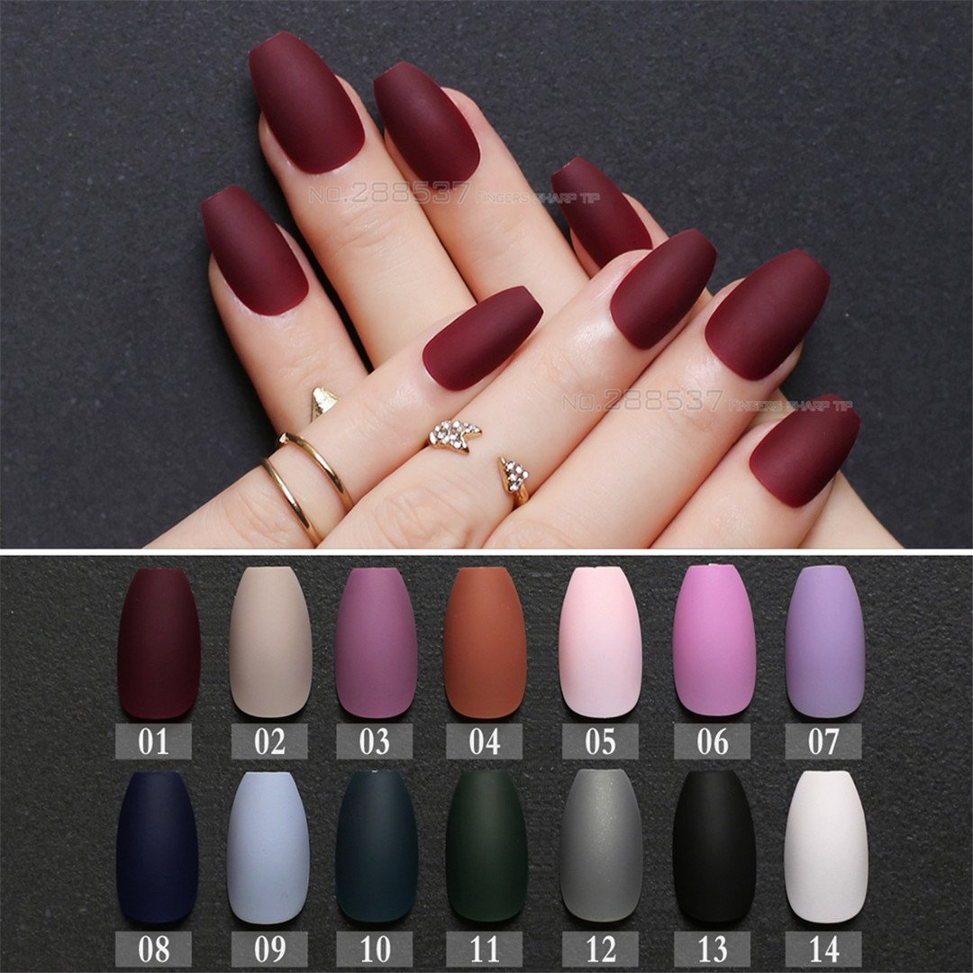 Amazon.com : Matte Burgundy Coffin False Nails Gray Pure Blue Designs Nude 24Pcs Purple Full Nail Tips Pink Ballerinas Red Fake Nail Black 05 : Beauty