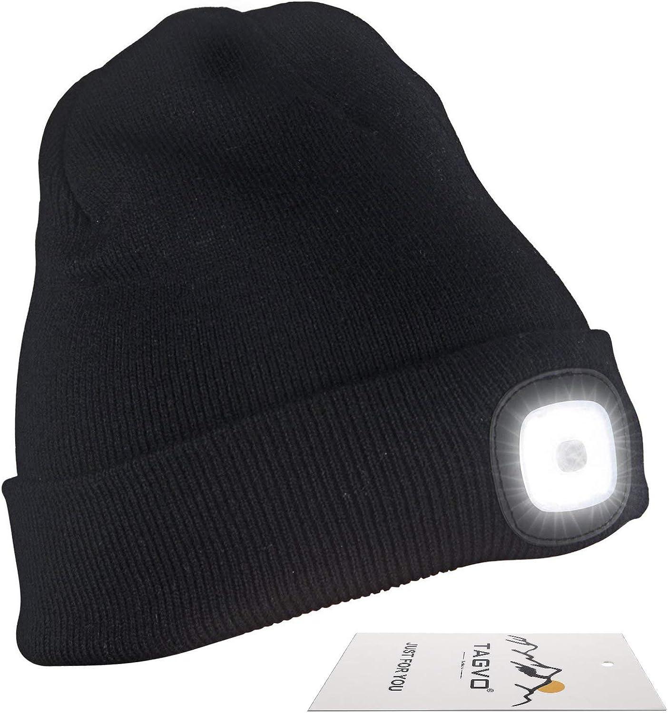 TAGVO LED Light Up Bonnet Chapeau Beanie Hat Knit Cap 6 LED Color/é No/ël Tricot/é Chapeau,Hiver Chapeau Lumineux Casquette Unisex Neige Chapeau Chaud Souple pour Sport F/ête Camping Jogging V/élo