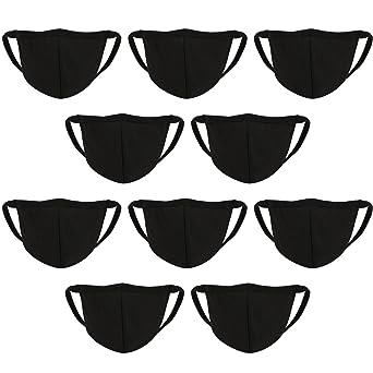 10 Piezas de Máscara de Boca de Cara Máscara de Algodón Antipolvo Cubierta de Boca Negra