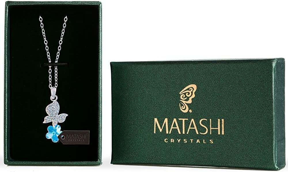 Rhodium Plated Necklace with Butterfly Alighting on a Flower Design with a 16 Extendable Chain and High Quality Crystals by Matashi