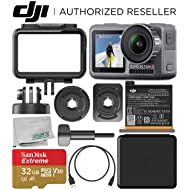 DJI Osmo Action 4K Camera with 32GB Basic Accessory Bundle – Includes: SanDisk Extreme 32GB microSDHC Memory Card (UHS-I / V30 / A1 / U3 / Class-10) + Microfiber Cleaning Cloth