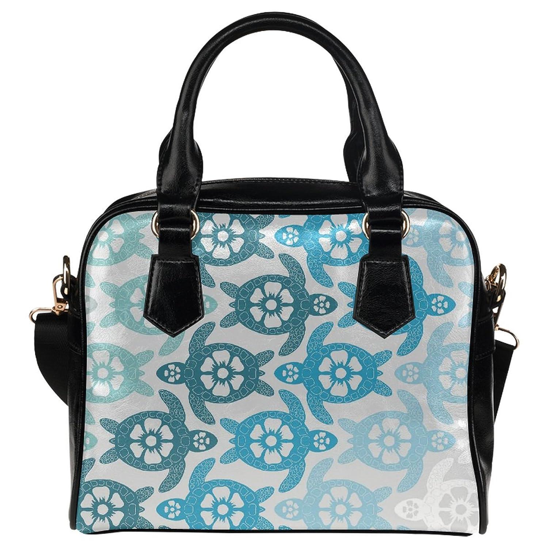 InterestPrint Ocean Sea Turtle PU Leather Aslant Shoulder Tote Handbag Bag