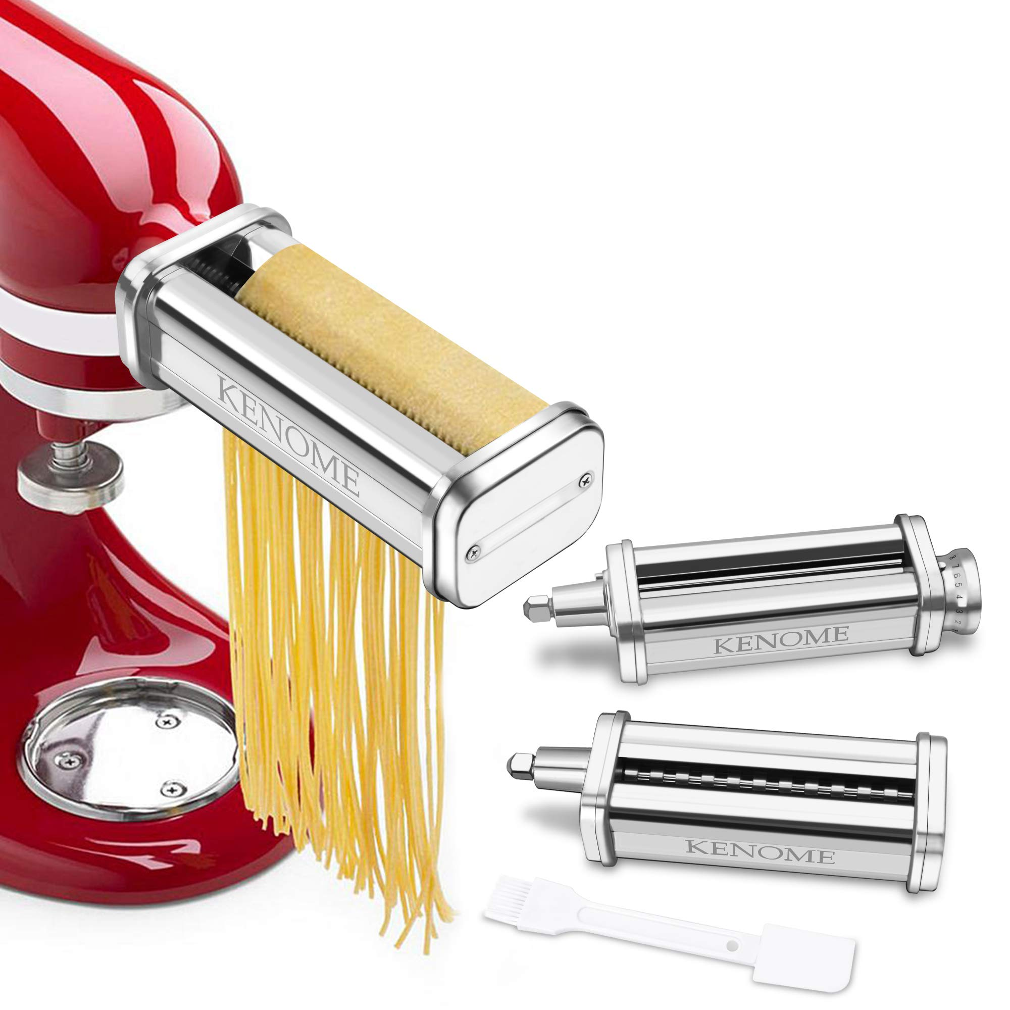 3-Piece Pasta Roller & Cutter Attachment Set for KitchenAid Stand Mixers Included Pasta Sheet Roller, Spaghetti Cutter, Fettuccine Cutter by KENOME