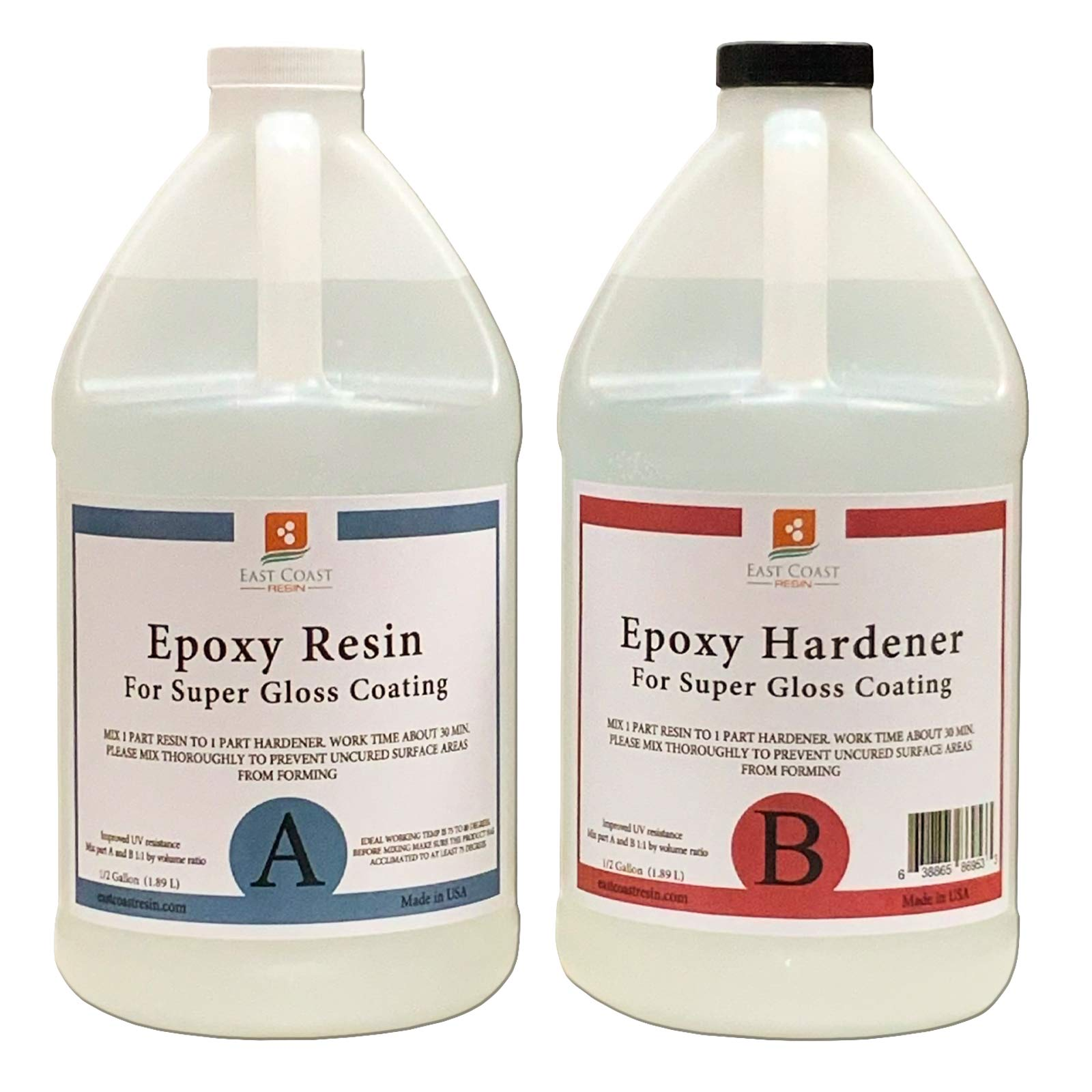 EPOXY Resin 1 Gal Kit, General Purpose (Coating, Table Tops, Casting) by East Coast Resin