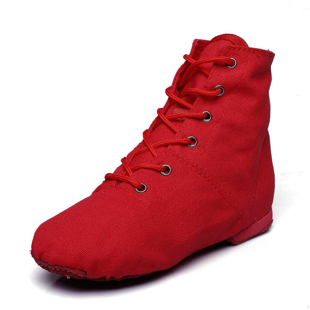 Canvas Women's Lace-up Jazz Dance Boots Red,8 M US