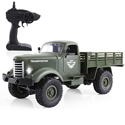 RC Military Truck -Flyglobal 1:16 4WD Off-Road Crawler Army Car, Radio Control RC Truck- 2.4Ghz Remote Control Toy RTR Car Vehicle with Rechargeable Batteries Great Gift for Kids Boys Adults,Green: Flyglobal: Toys & Games