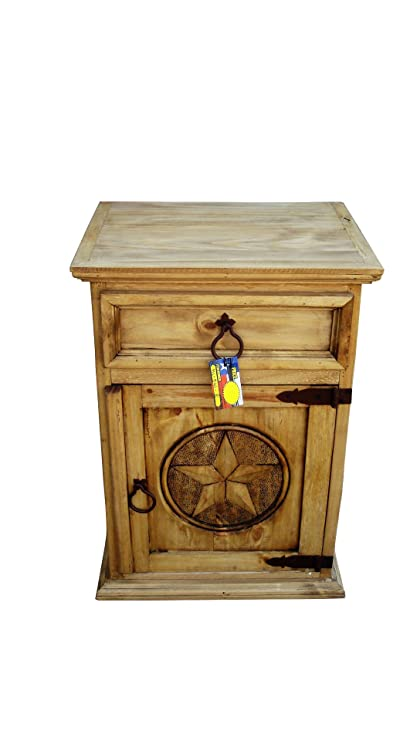 RUSTIC FOR LESS Mansion Rustic Nightstands With Star Honey Finish (Right  Hinged)