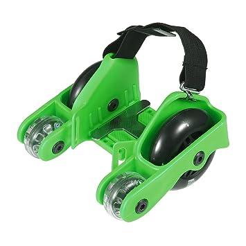 PAWACA Upgraded cuatro rodillos de ruedas patines de talón zapatos Scooters con luz intermitente y 200lbs