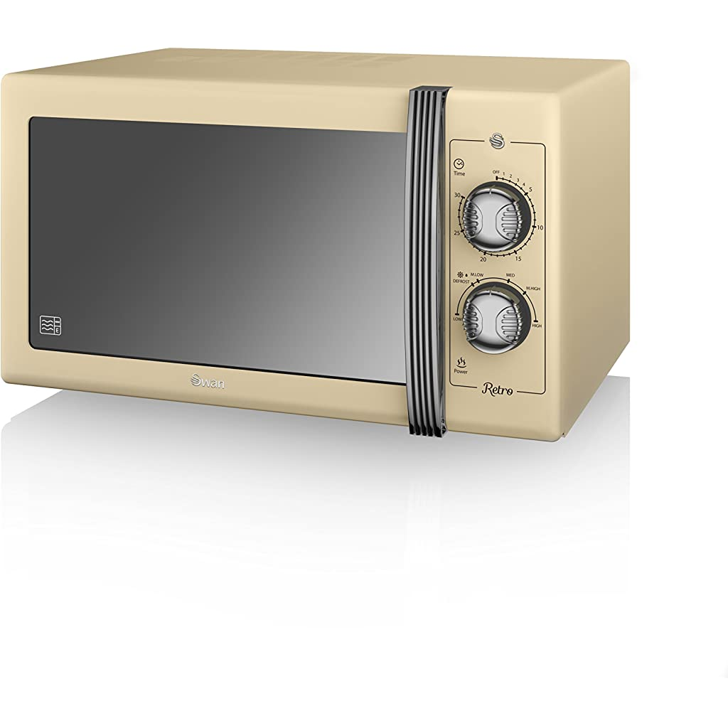 SWAN Retro Manual Microwave, 25 Litre, 900 W, Cream