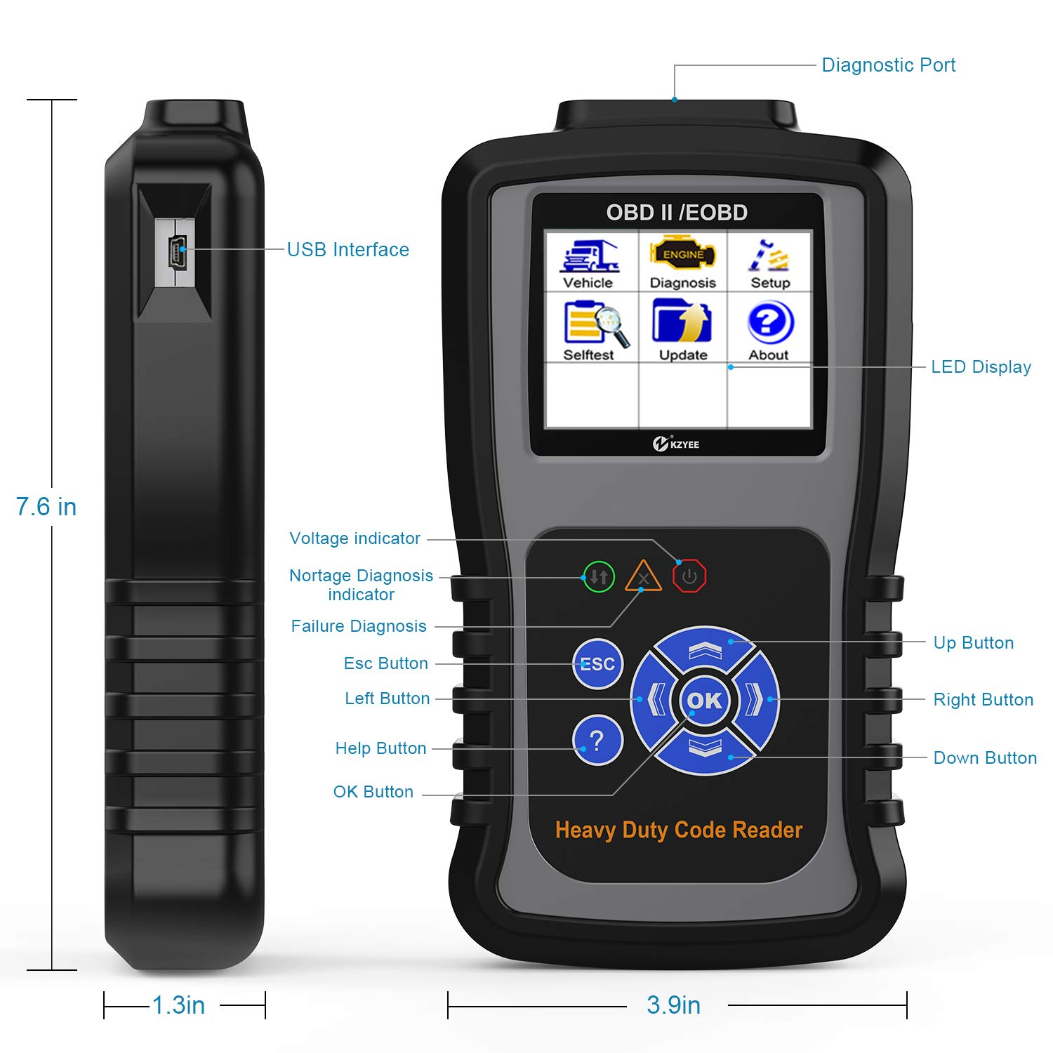 Kzyee KC601 Heavy Duty Scan Tool, HD Truck Diagnostic Scanner Transmission  DPF Code Reader/Eraser with Live Data/ECU Info for J1587/J1708 J1939 Class