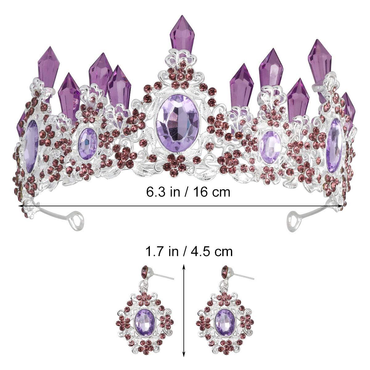 Tiara Crown Crystal Crown Bridal Noble Tiara Magnificent Rhinestone For Princess Wedding Jewelry Set (Purple)