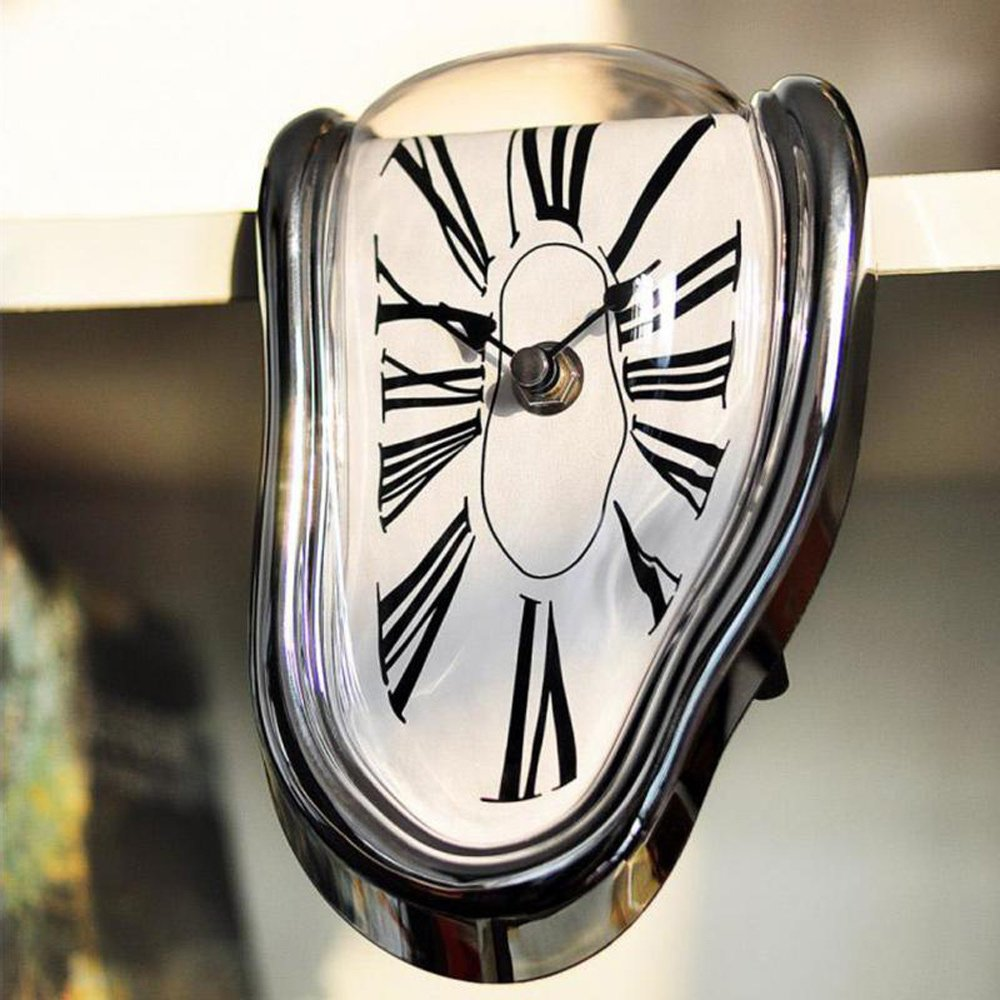 Amazon.com: Pinjeer Novel Surreal Melting Distorted Wall Clock Surrealist Salvador Dali Style Wall Clock Amazing Home Decoration Gift (Color : Silver): Home ...