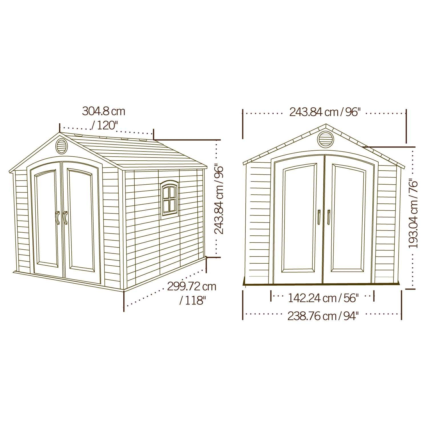 Amazon.com : Lifetime 6405 Outdoor Storage Shed With Window, Skylights, And  Shelving, 8 By 10 Feet : Garden Shed : Garden U0026 Outdoor