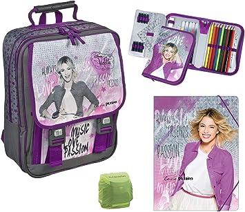 Disney Violetta grande Mochila Escolar de 6 piezas Turn Bolsa, estuche viae8300: Amazon.es: Equipaje