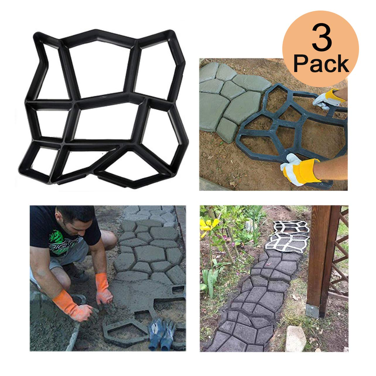 3 Pack Irregular DIY Pavement Mold Walk Maker Path Maker Brick Mold Concrete Form Pathmate Stepping Stone Molds for Concrete Mould Reusable for Garden, Court Yards, Patios and Walks, 16.9 x 16.5in