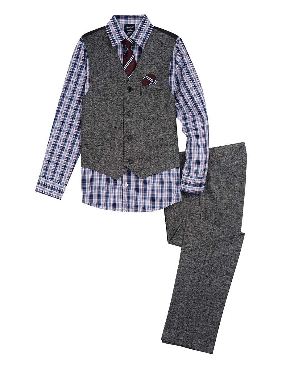 Nautica Boys' Toddler 4-Piece Formal Dresswear Vest Set, Original Black, 2T