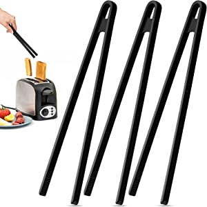 Silicone Trivet Tongs 11.8 Inch Non-Stick Silicone Food Tongs Kitchen Cooking Tongs Heat Resistant Barbecue Grilling Tongs for Pan Fried Steak and Toaster (Black,3 Pieces)