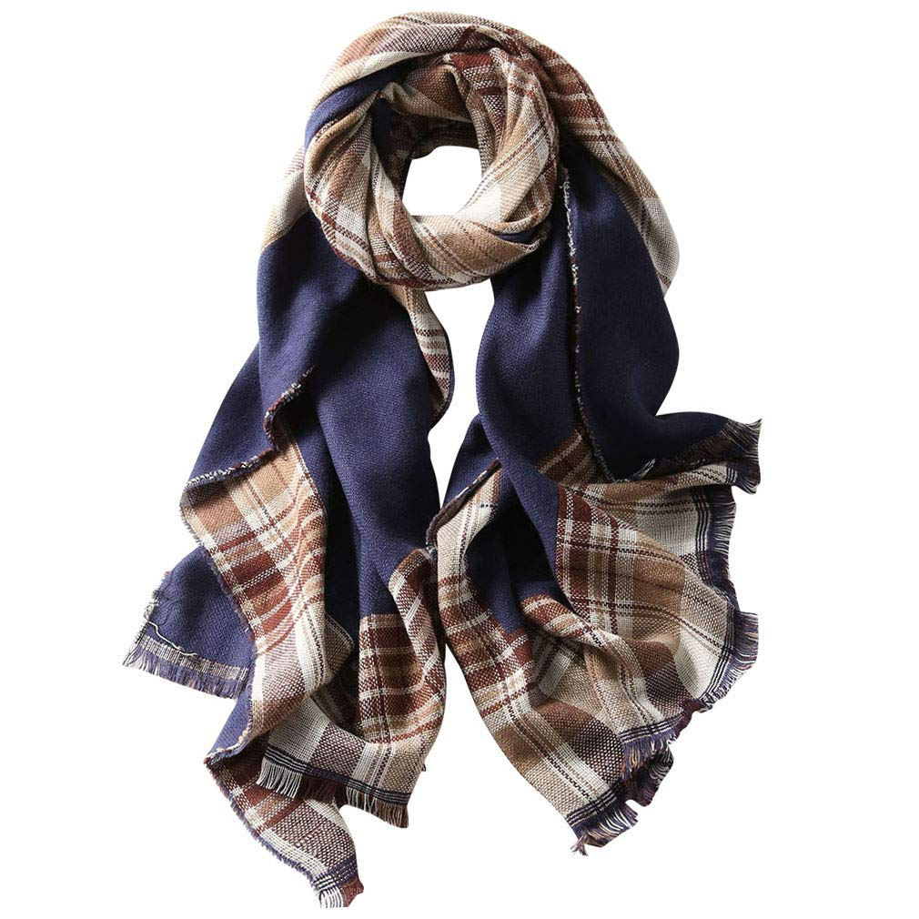 Navy GERINLY Womens Plaid Chunky Scarf Warm Blanket Wrap Shawl