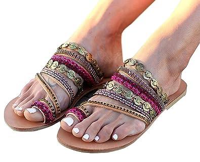 89ecfac1 Tomwell Women Summer Breathable Bohemian Style Beaded Slip on Slippers Flip  Flops Thong Flats Beach Sandals
