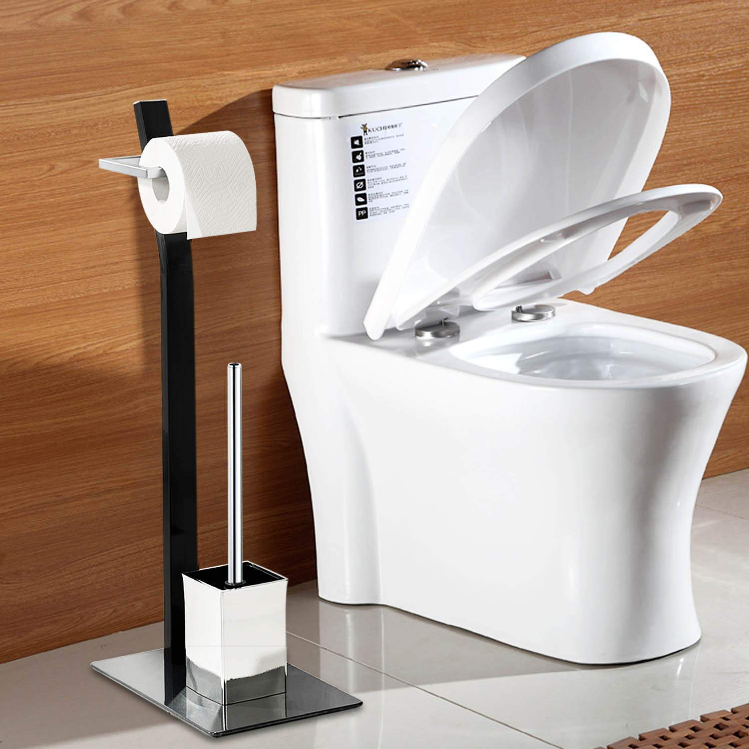 Free Standing Toilet Paper Holder Black Tissue Industrial Bathroom Toilet Brush And Holder Set Stand Silver