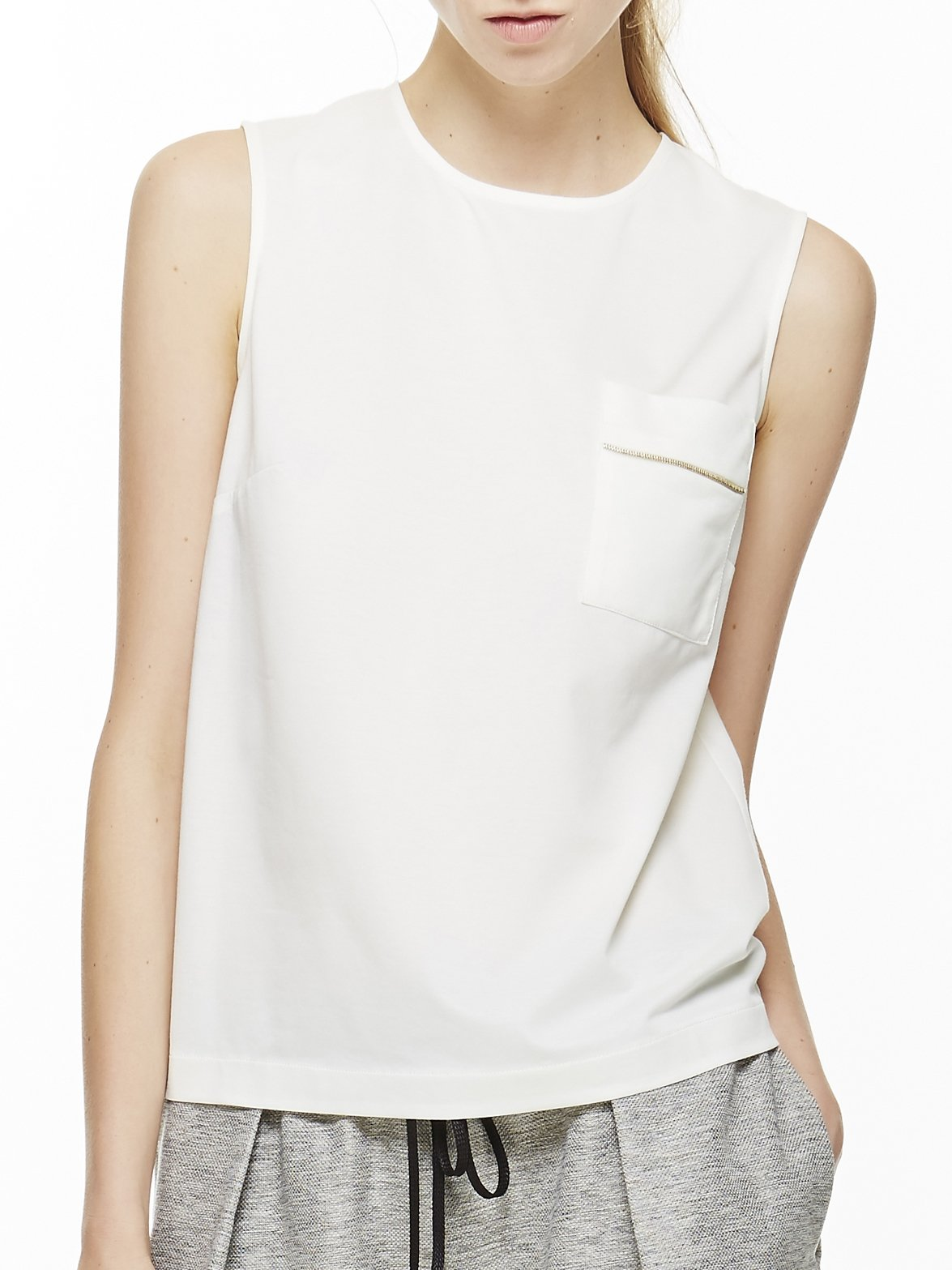 Women's Knit Tank with Back Zip Large Off-white by 4 corners of a circle