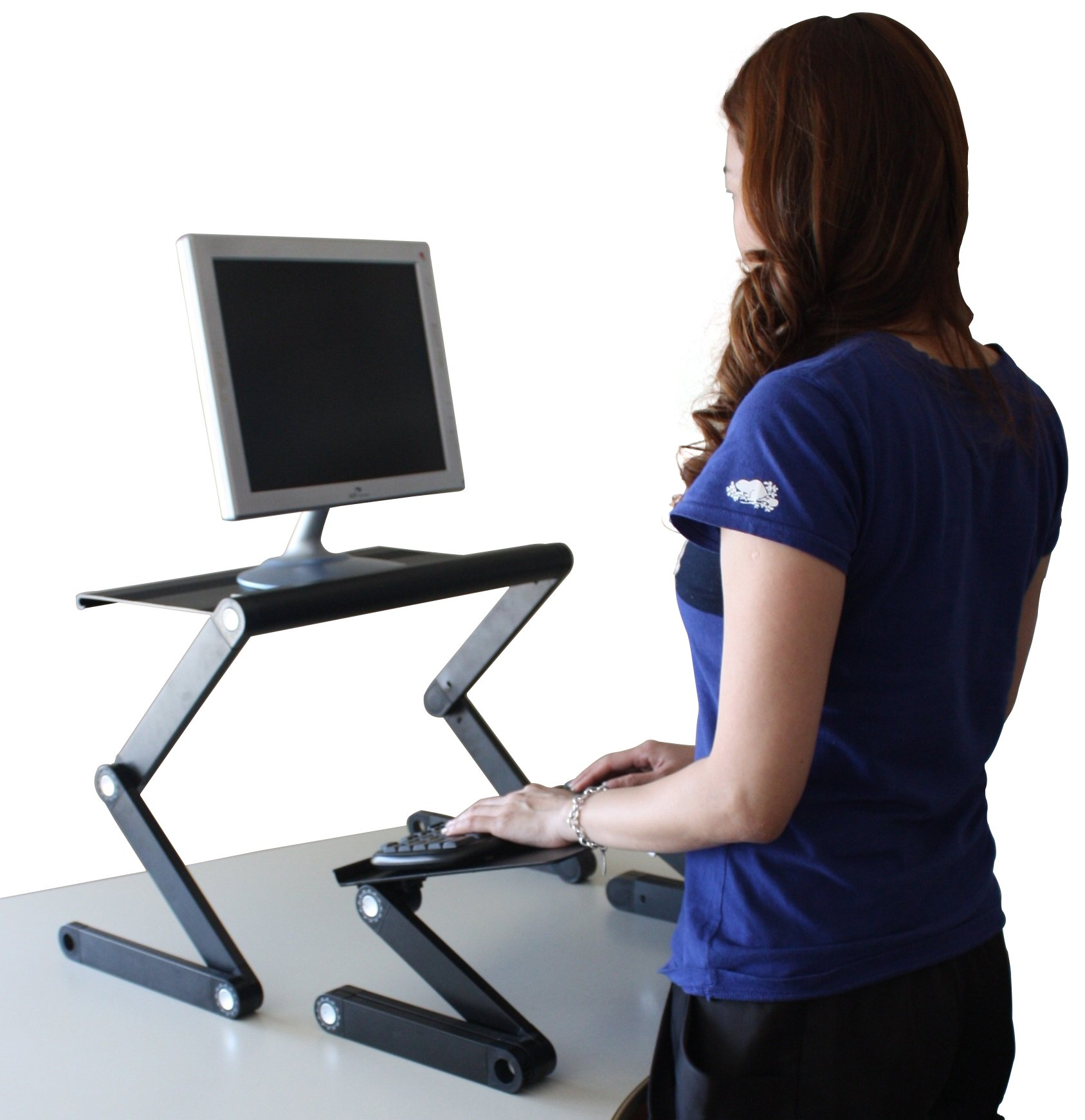 Workez Standing Desk Conversion Kit - Adjustable Ergonomic Sit to Stand Office Desk for Laptops & Desktops (BLACK) by Uncaged Ergonomics